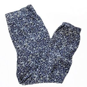 H&M Navy Floral Pull On Elastic Waist Pants Medium